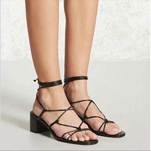Black lace up strap sandals